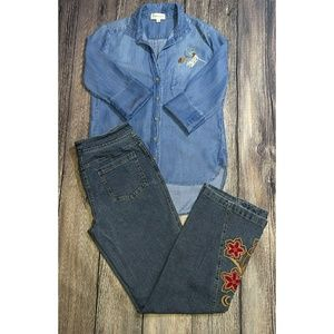 Kate Landry Embroidered Blue Jeans